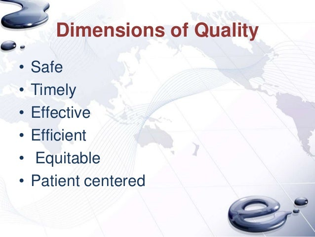 Dimensions of Quality•   Safe•   Timely•   Effective•   Efficient•   Equitable•   Patient centered