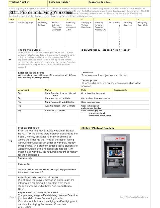 8d problem solving worksheet
