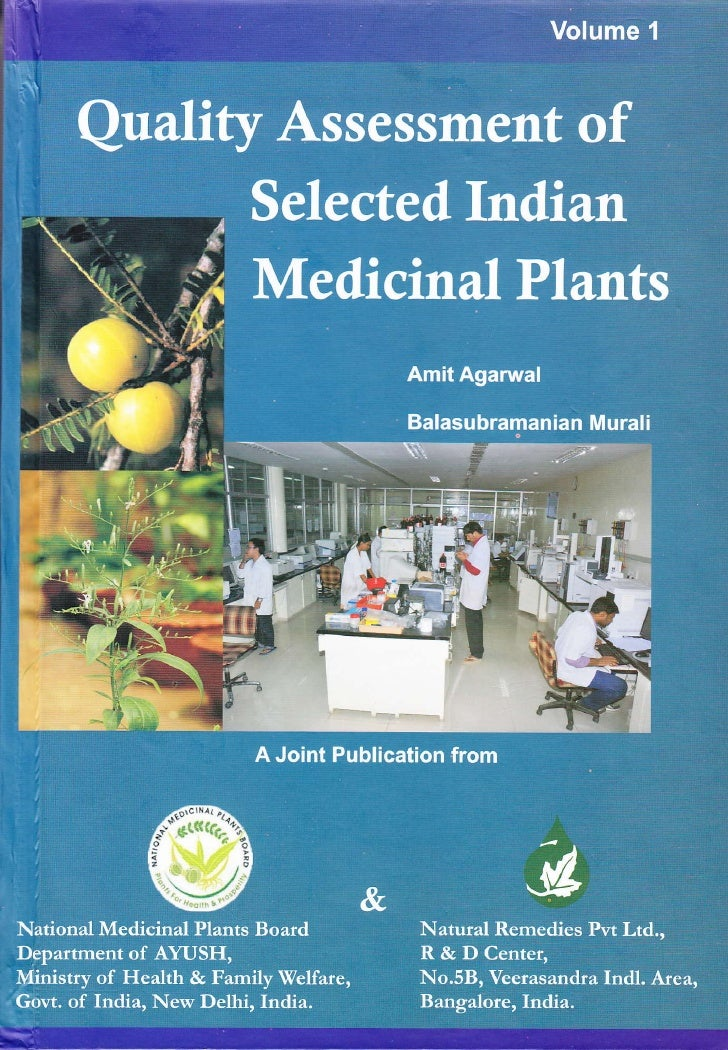 Quality Assessment of Selected Indian              Medicinal Plants                                  Volume 1             ...