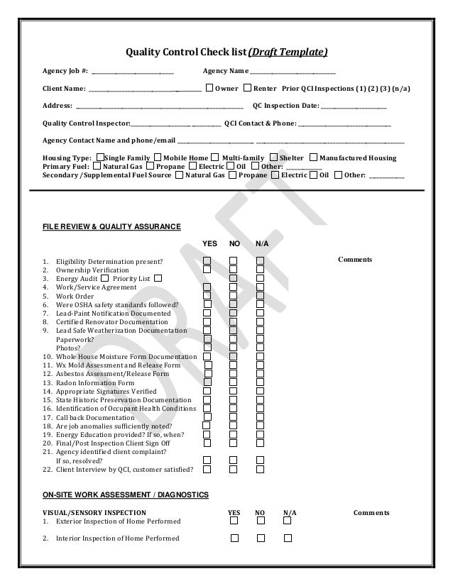 Pennsylvania weatherization quality control inspection for Quality control check sheet template