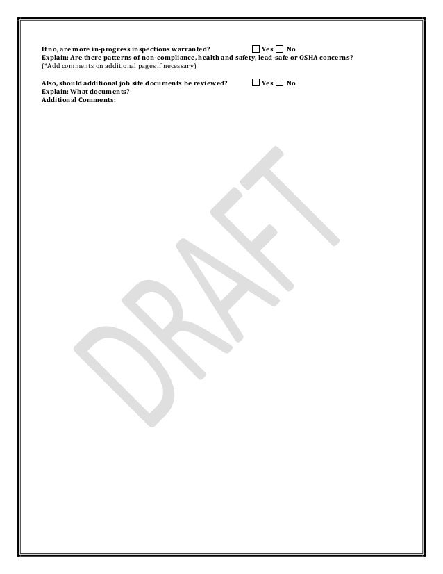 Pennsylvania Weatherization Quality Control Inspection Checklist