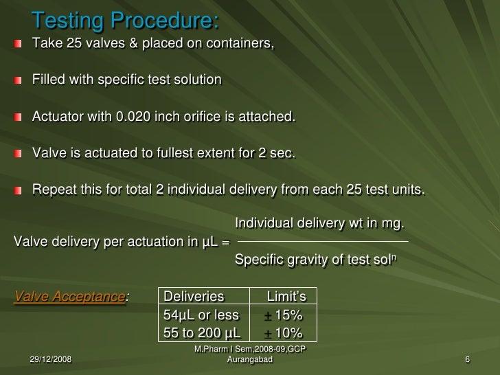 quality control evaluation of aerosol