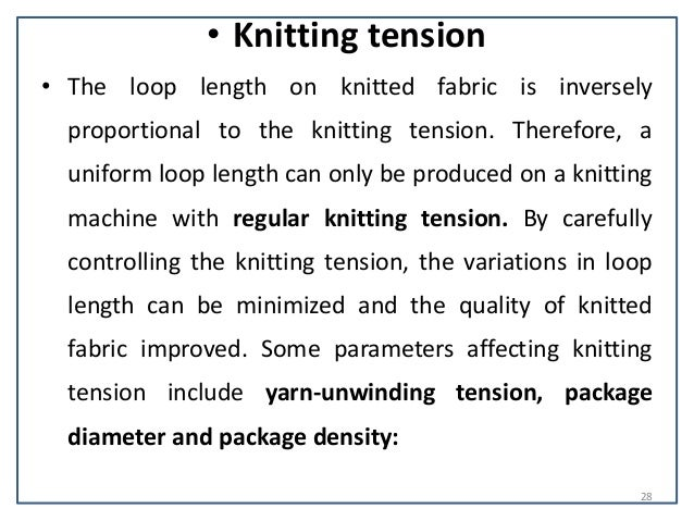 Knitting Loop Length Formula : Quality control in the knitting process