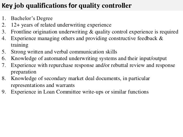 3 key job qualifications - Controls Technician Job Description