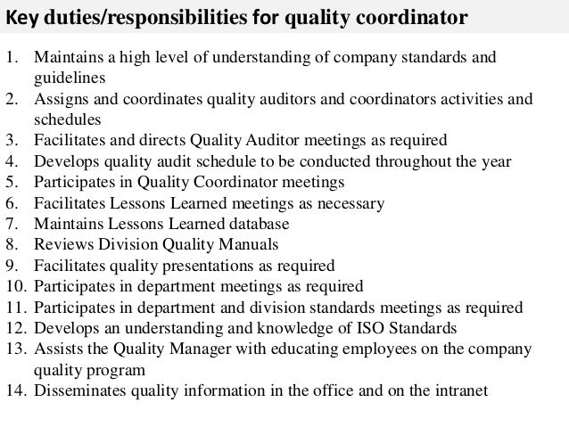 Quality coordinator job description – Coordinator Job Description