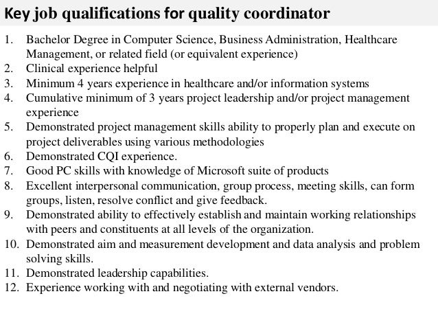 quality coordinator job description - Job Description Of Business Administration
