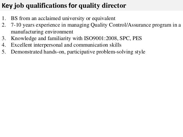 Quality director job description – Quality Control Job Description