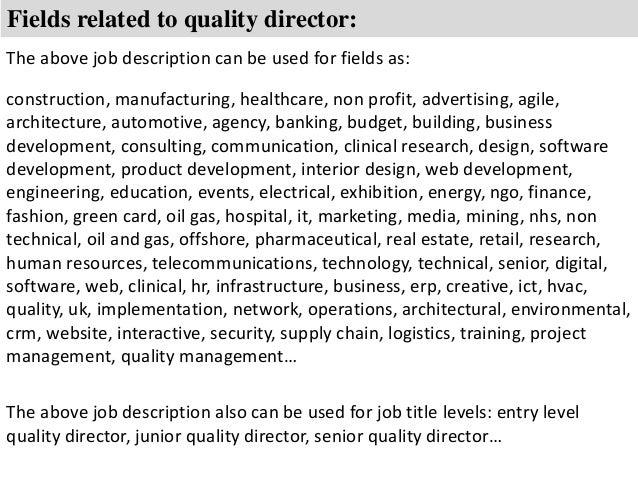 Quality director job description – Senior Director Job Description
