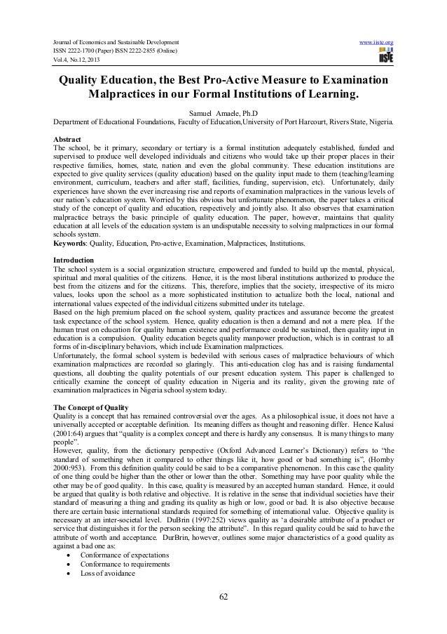 Causes of examination malpractice in Nigeria