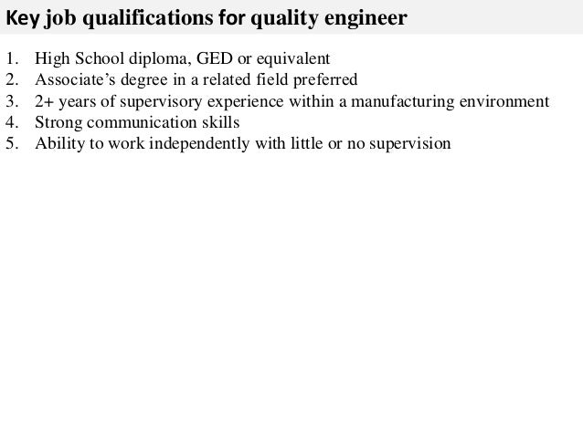 Additional Duties As Assigned; 3. Key Job Qualifications For Quality  Engineer ...
