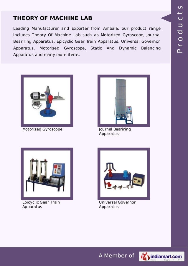 A Member of THEORY OF MACHINE LAB Leading Manufacturer and Exporter from Ambala, our product range includes Theory Of Mach...