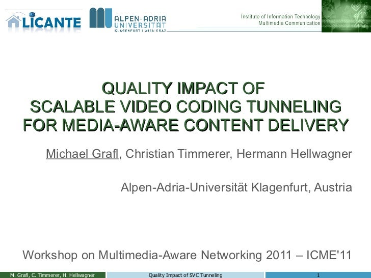 QUALITY IMPACT OF  SCALABLE VIDEO CODING TUNNELING FOR MEDIA-AWARE CONTENT DELIVERY Michael Grafl , Christian Timmerer, He...