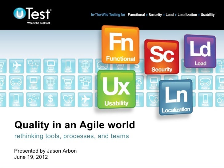 Quality in an Agile worldrethinking tools, processes, and teamsPresented by Jason ArbonJune 19, 2012