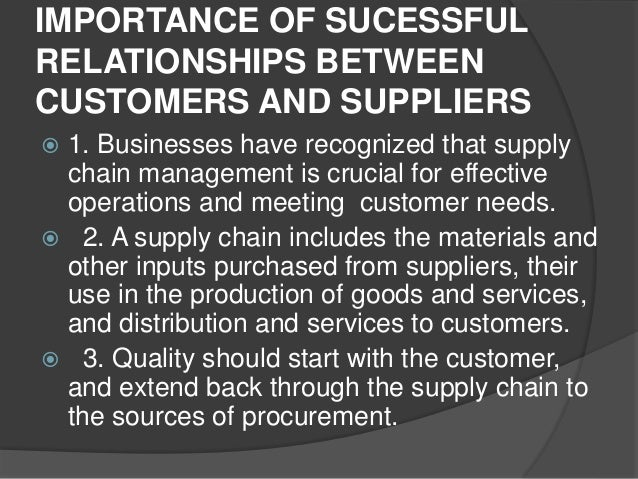 the customer supplier relationship