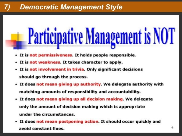management styles democratic The democratic leadership style is highly effective the democratic leadership style is one of the most popular leadership styles today there are many reasons as to why the democratic leadership style is popular and we will unpack why in this post.