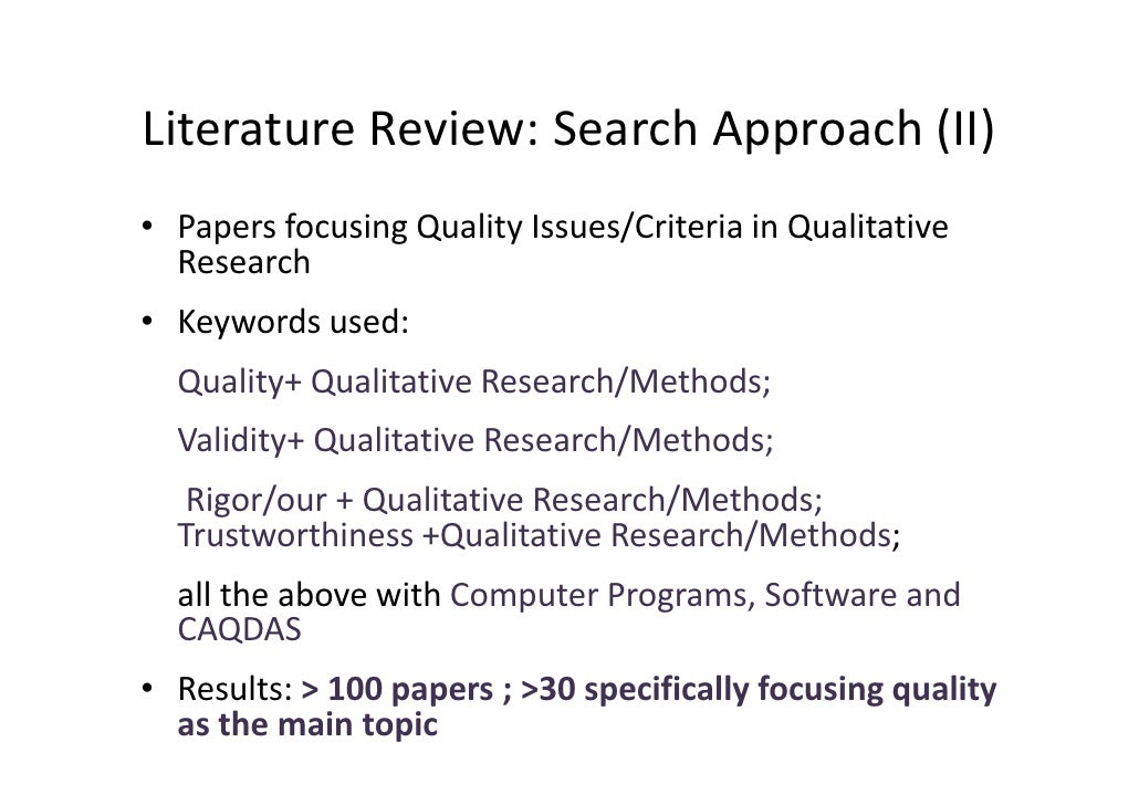 role of literature review in qualitative research