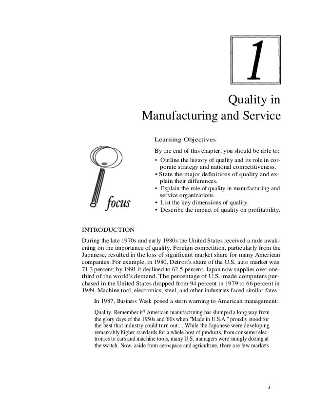 Quality in                         Manufacturing and Service                               Learning Objectives            ...