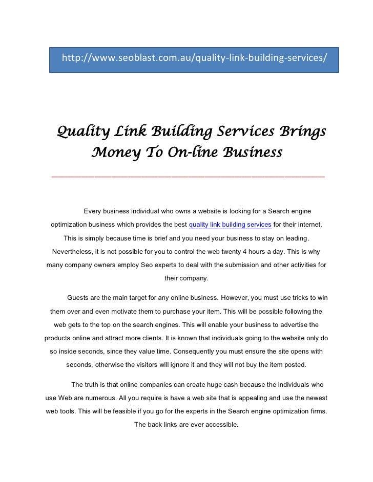 http://www.seoblast.com.au/quality-link-building-services/    Quality Link Building Services Brings                Money T...