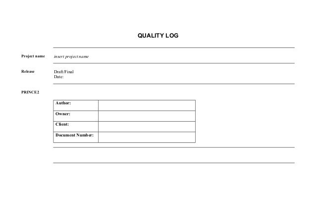 prince 2 project managment document quality log