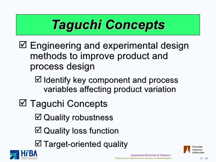 taguchi concepts total quality management