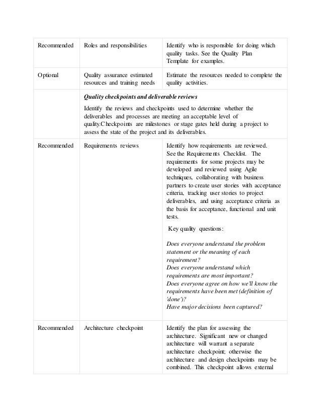 Quality management checklist