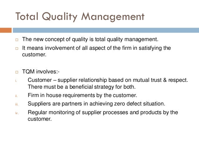 concepts quality management Chapter 9: management of quality chapter 9 focuses on the importance of quality it discusses various concepts and tools that can be used to achieve high quality and continuous improvement.