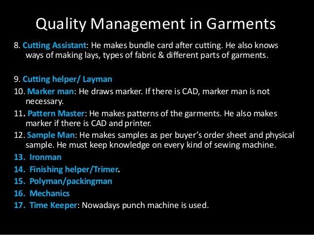 quality management in garments