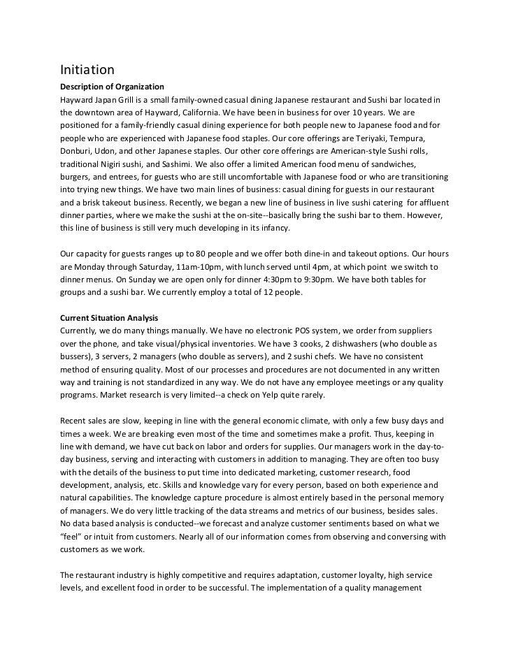 Quality Management Plan: Hayward Japan Grill