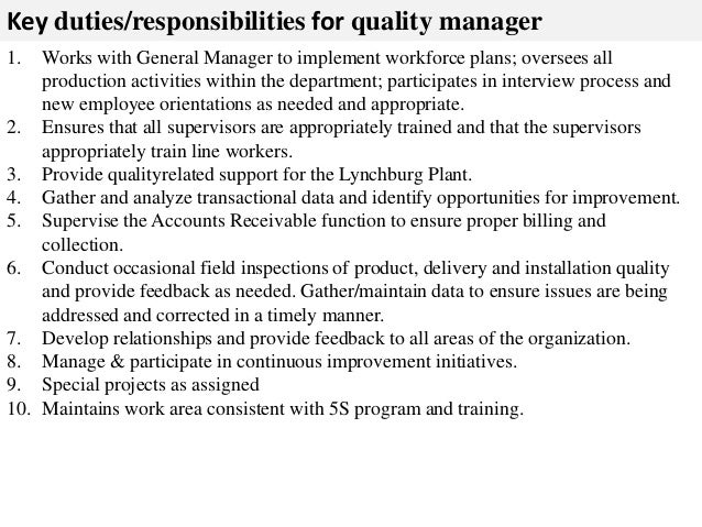 Quality manager job description – General Manager Job Description