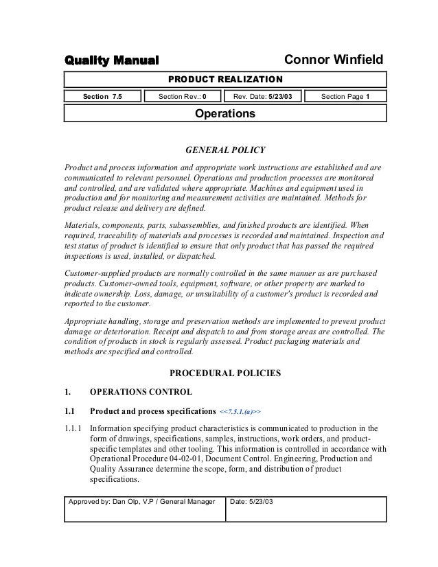 Work Instruction Template | Quality Manual For Small And Medium Companies
