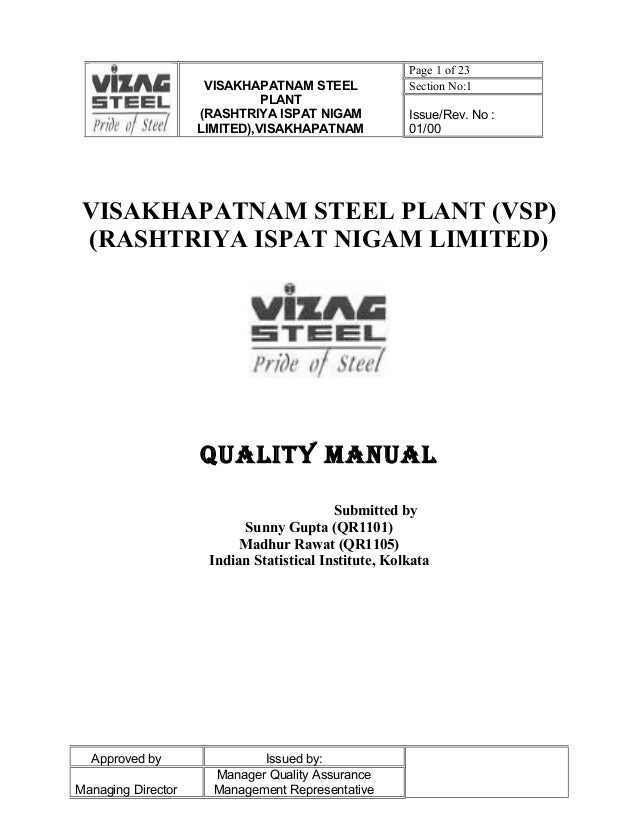 Page 1 of 23                     VISAKHAPATNAM STEEL              Section No:1                              PLANT         ...