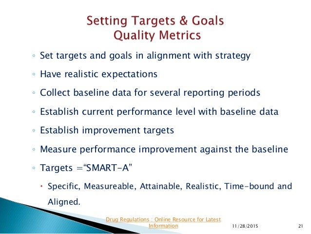 ◦ Set targets and goals in alignment with strategy ◦ Have realistic expectations ◦ Collect baseline data for several repor...