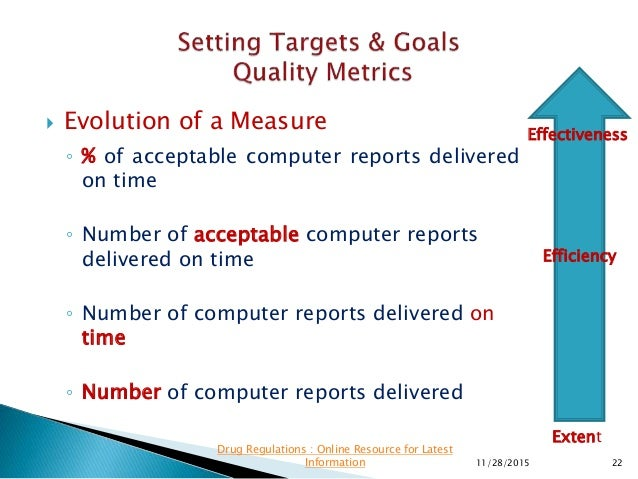  Evolution of a Measure ◦ % of acceptable computer reports delivered on time ◦ Number of acceptable computer reports deli...