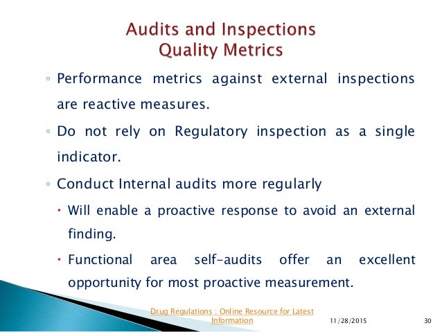 ◦ Performance metrics against external inspections are reactive measures. ◦ Do not rely on Regulatory inspection as a sing...