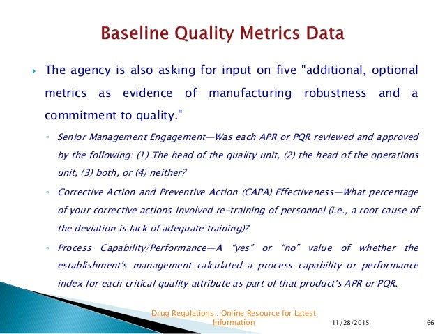 """ The agency is also asking for input on five """"additional, optional metrics as evidence of manufacturing robustness and a ..."""