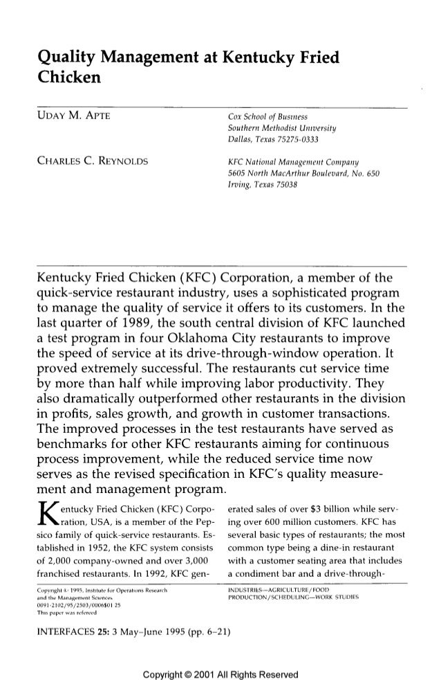 Quality Management at Kentucky Fried Chicken  UDAY M.  APTE Cox School of Business Southern Methodíst University Dallas,  ...