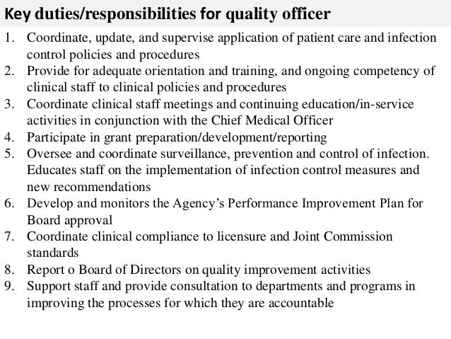 Quality Officer Job Description