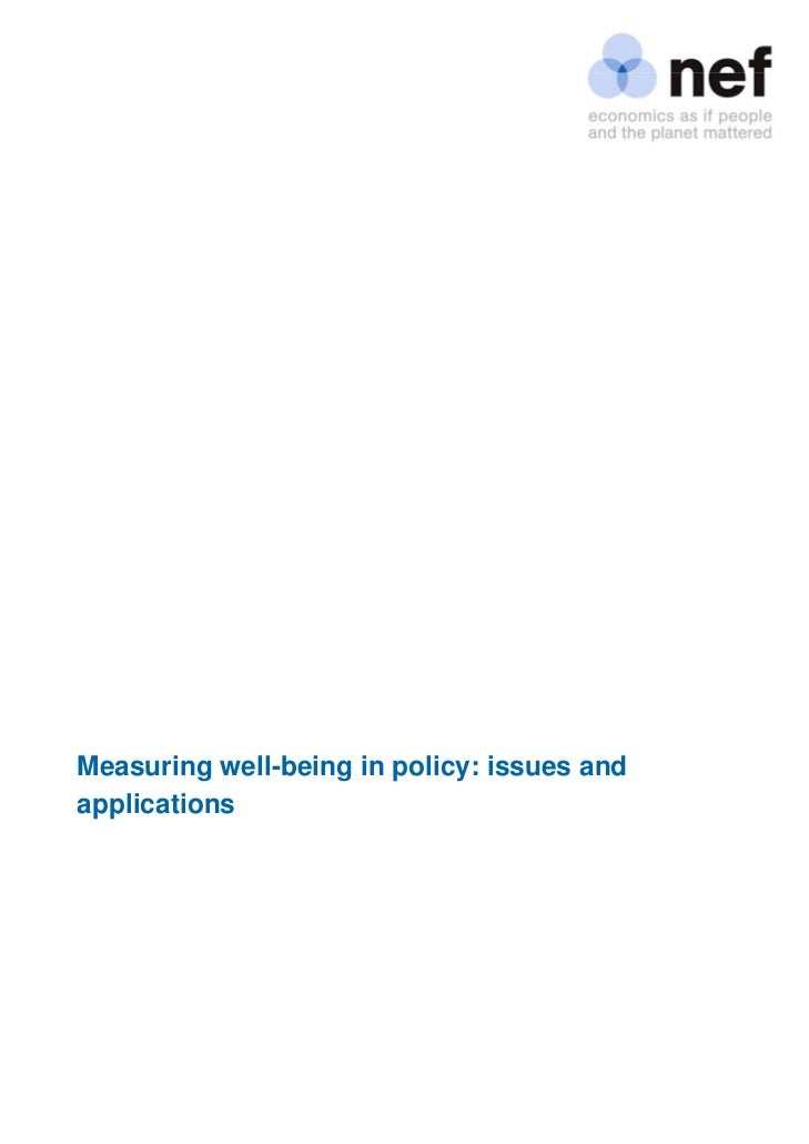 Measuring well-being in policy: issues and applications