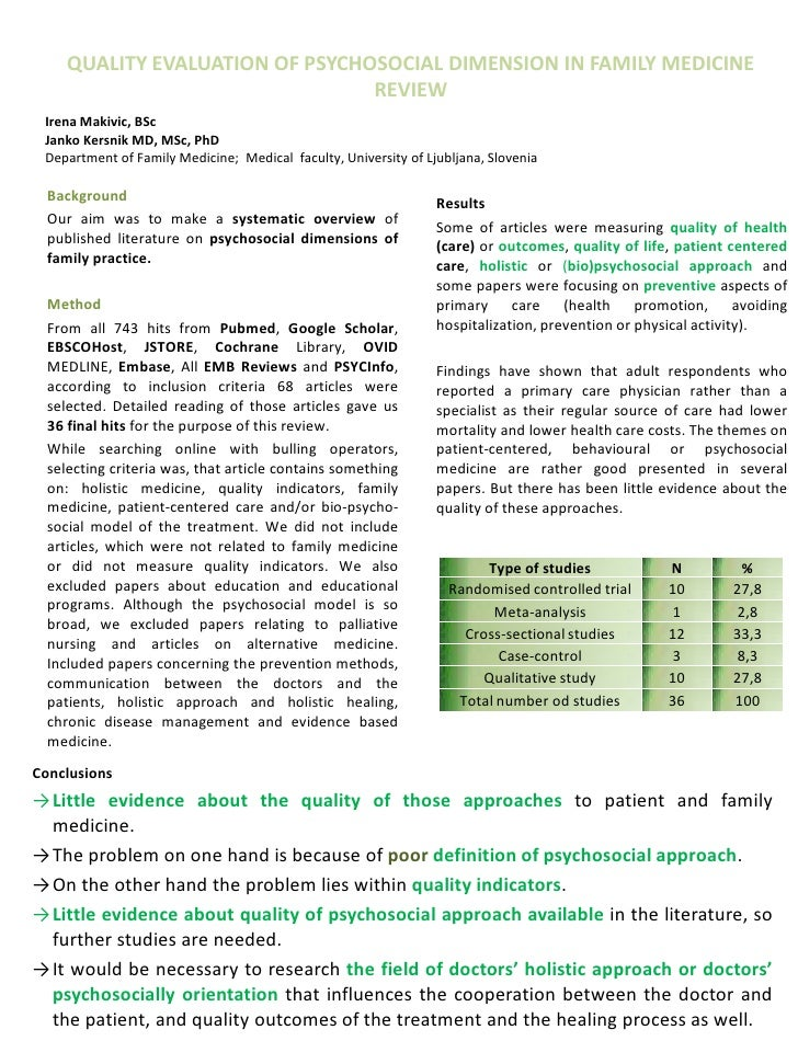 QUALITY EVALUATION OF PSYCHOSOCIAL DIMENSION IN FAMILY MEDICINE                                 REVIEW Irena Makivic, BSc ...