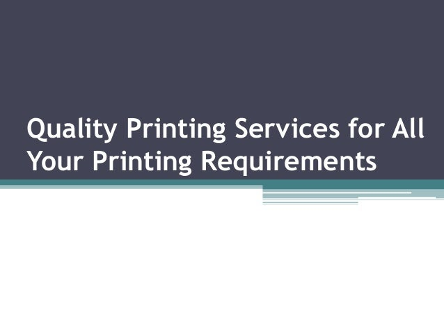 Quality Printing Services for All Your Printing Requirements