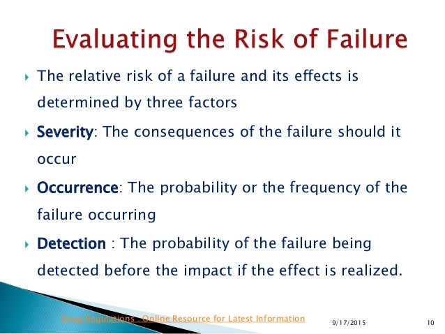  The relative risk of a failure and its effects is determined by three factors  Severity: The consequences of the failur...
