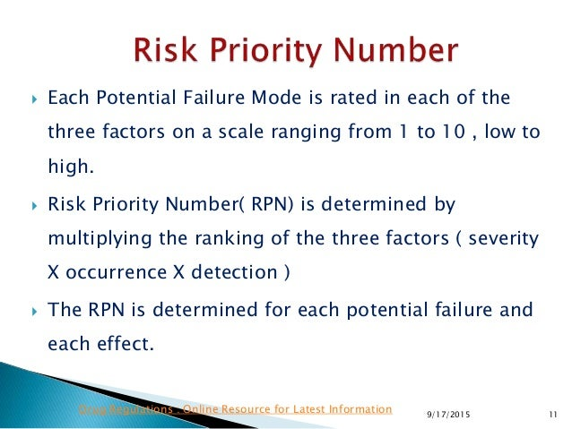  Each Potential Failure Mode is rated in each of the three factors on a scale ranging from 1 to 10 , low to high.  Risk ...