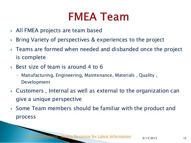  All FMEA projects are team based  Bring Variety of perspectives & experiences to the project  Teams are formed when ne...