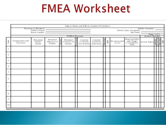 Quality Risk management Application of FMEA – Fmea Worksheet