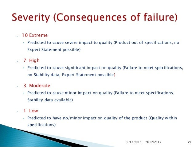 10 Dangerously High Failure could lead to death or permanent injury to the customer. Financial: >$1,000,000 9 Extremely hi...
