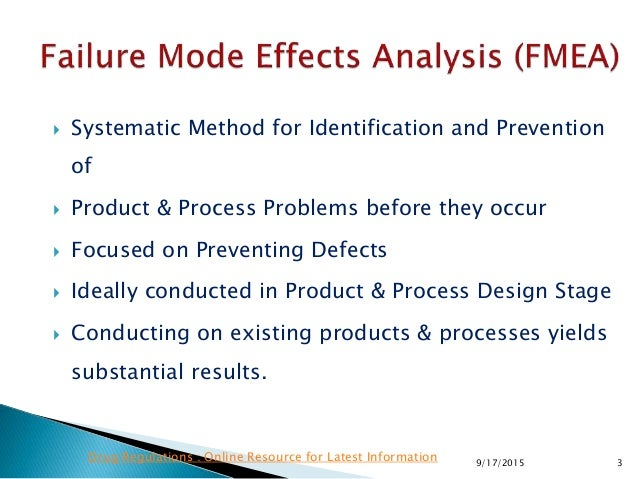  Systematic Method for Identification and Prevention of  Product & Process Problems before they occur  Focused on Preve...