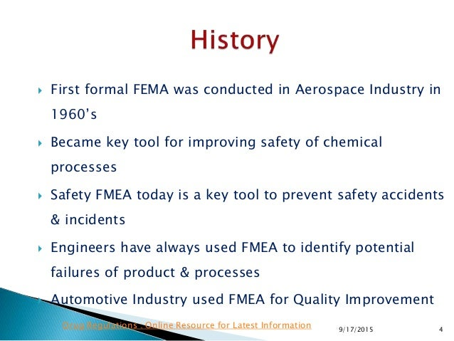  First formal FEMA was conducted in Aerospace Industry in 1960's  Became key tool for improving safety of chemical proce...