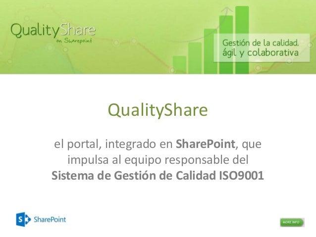 QualityShare el portal, integrado en SharePoint, que impulsa al equipo responsable del Sistema de Gestión de Calidad ISO90...