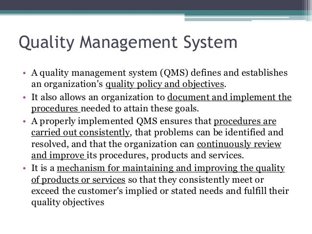 What is iso 9001 qms