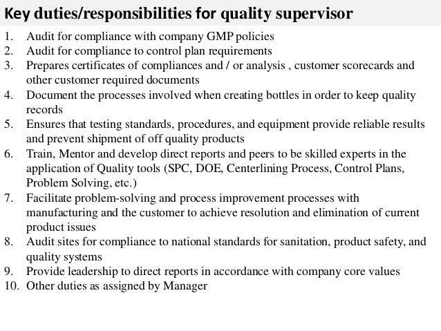 Quality supervisor job description – Supervisor Job Description